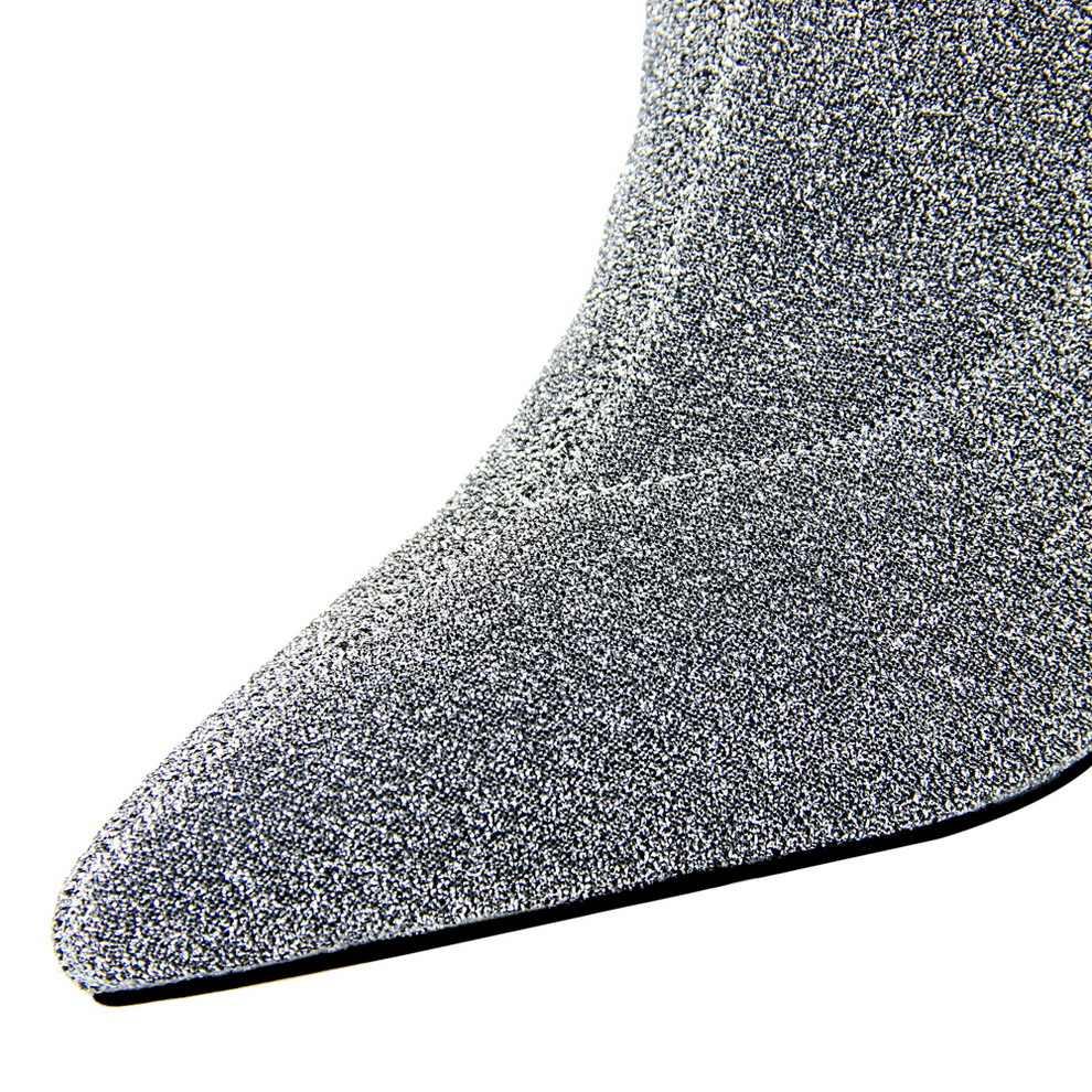 BIGTREE Streç Örme Kadın kısa çizmeler Metal Kare Topuk Kadın Moda Botları Sonbahar Sivri Yüksek Topuklu siyah çizmeler Kadın