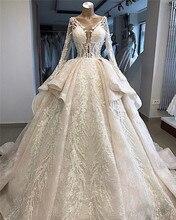חדש כניסות יוקרה חרוזים תחרת כדור שמלת חתונת שמלות 2020 חדש עיצוב ארוך שרוול שכבות שמלות כלה Vestido דה Noiva