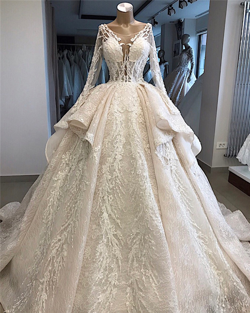 New Arrivals Luxury Beaded Lace Ball Gown Wedding Dresses 2020 New Design Long Sleeve Tiered Wedding Gowns Vestido De Noiva