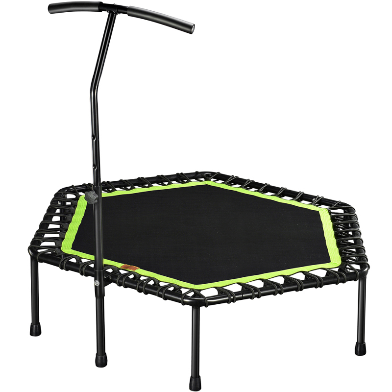Mini Trampoline With Adjustable Handle Bar Fitness Indoor Trampoline Bungee Rebounder Jumping Cardio Trainer Workout