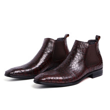 Luxury Italian Genuine Leather Men #8217 s Ankle Boots Slip On Elastic Chelsea Boots Formal Dress Shoes Genuine Leather Shoes Men B02 cheap QYFCIOUFU Cow Leather Solid Adult Pigskin Square Toe Rubber Winter Low (1cm-3cm) Lace-Up Fits true to size take your normal size