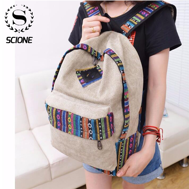 Ladies Laptop Backpack Women Canvas Backpack School Ladies Girls Teenagers Casual Travel Bags Mochila Laptop Bagpack 16