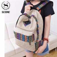 Senhoras mochila de lona das mulheres da escola das senhoras meninas adolescentes sacos de viagem casuais mochila portátil bagpack 16