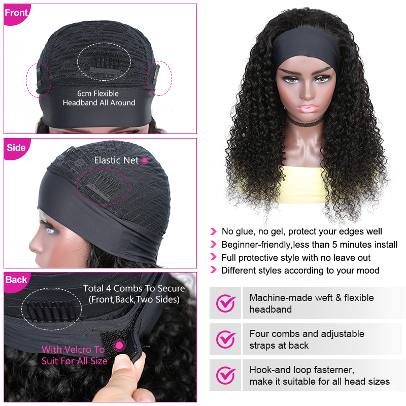 YYong Jerry Curl Headband Wig Natural Color    Headband Wigs With Scarf Glueless Wig for Women 8-24inch 4