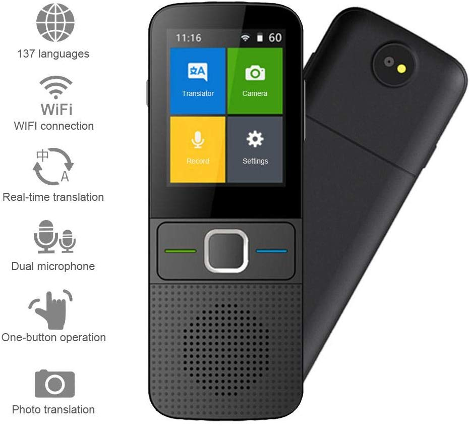 Language Translator 2.4 Inch HD Touchscreen Smart Voice Translator Device Photo Translation 137 Languages Instant Translation