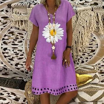 Fashion linen dress Women Plus Size Daisy Printed Short Sleeves V-Neck Casual Short Dress bayan elbise 2