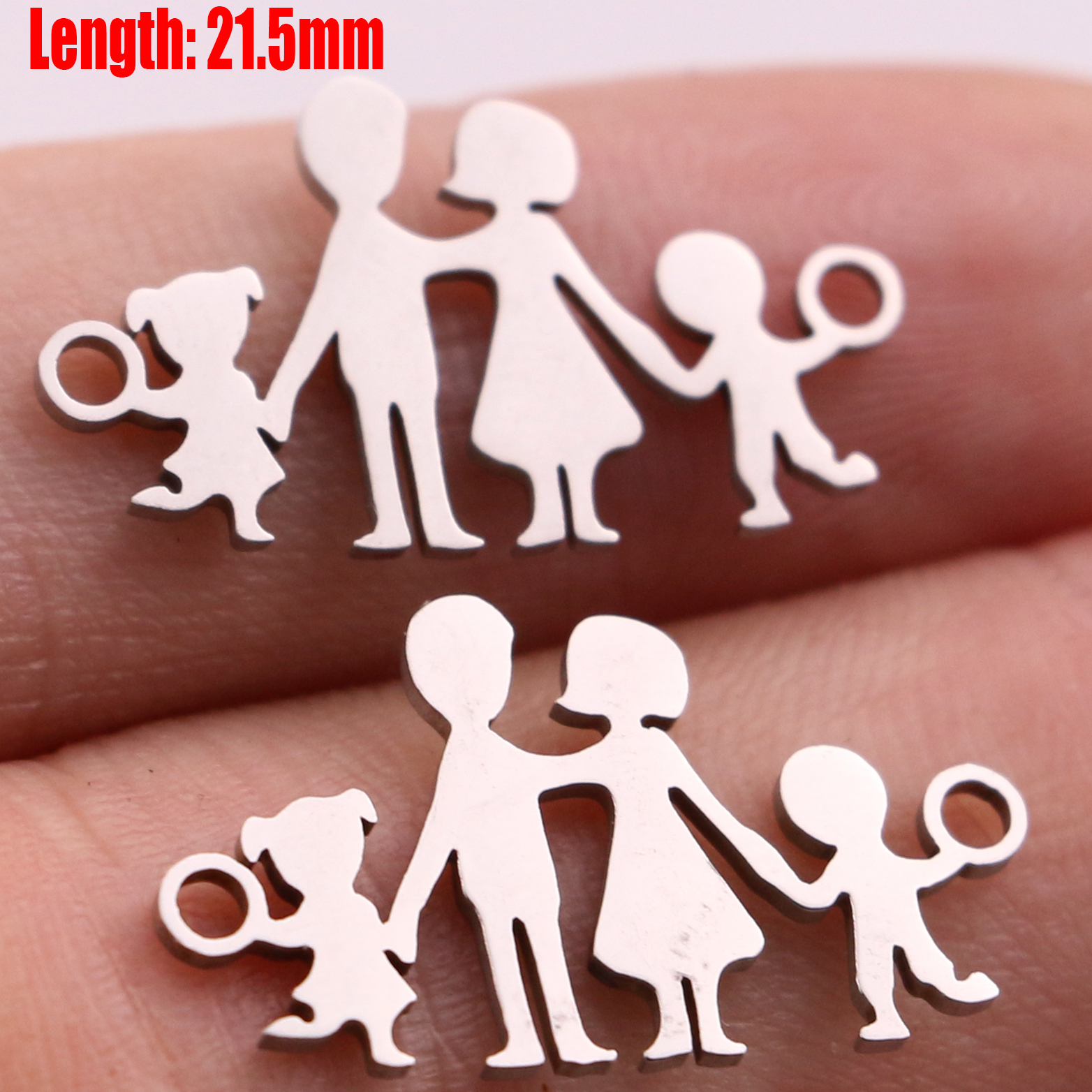 5pcs Family Chain Stainless Steel Pendant Necklace Parents and Children Necklaces Gold/steel Jewelry Gift for Mom Dad New Twice - Цвет: Steel 38