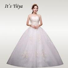 It's YiiYa Wedding Dresses For Women 2020 Plus Size Strapless Pleat Wedding Dress boho Elegant Lace Long Vestido de novia XXN250