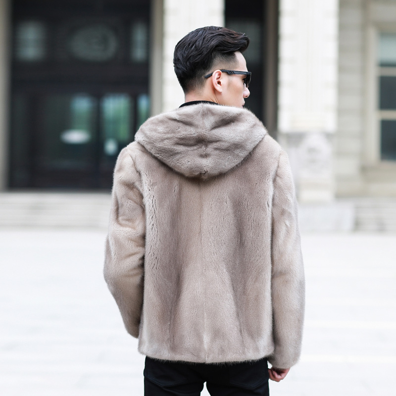 Natural Mink Fur Hooded Coat Winter Jacket Men Real Shearling Warm Outwear Plus Size Veste Homme 95001 YY659