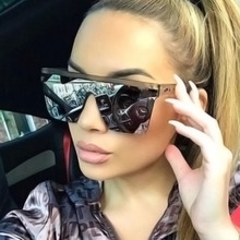 Brand Design Sunglasses Fashion Oversized Vintage Flat
