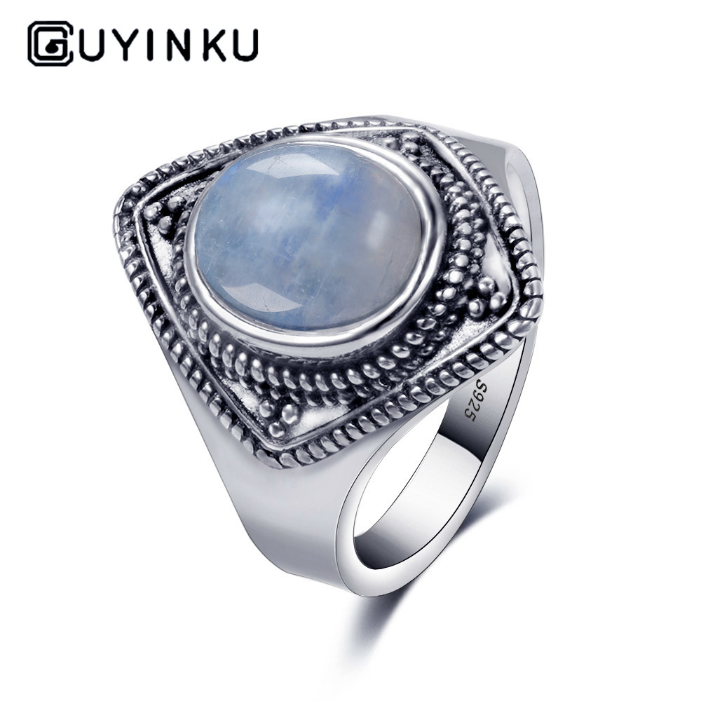 S925 Silver Ring 8X10 Oval Retro Texture Natural Moonstone Ring Jewelry Men's And Women's Gifts Wholesale