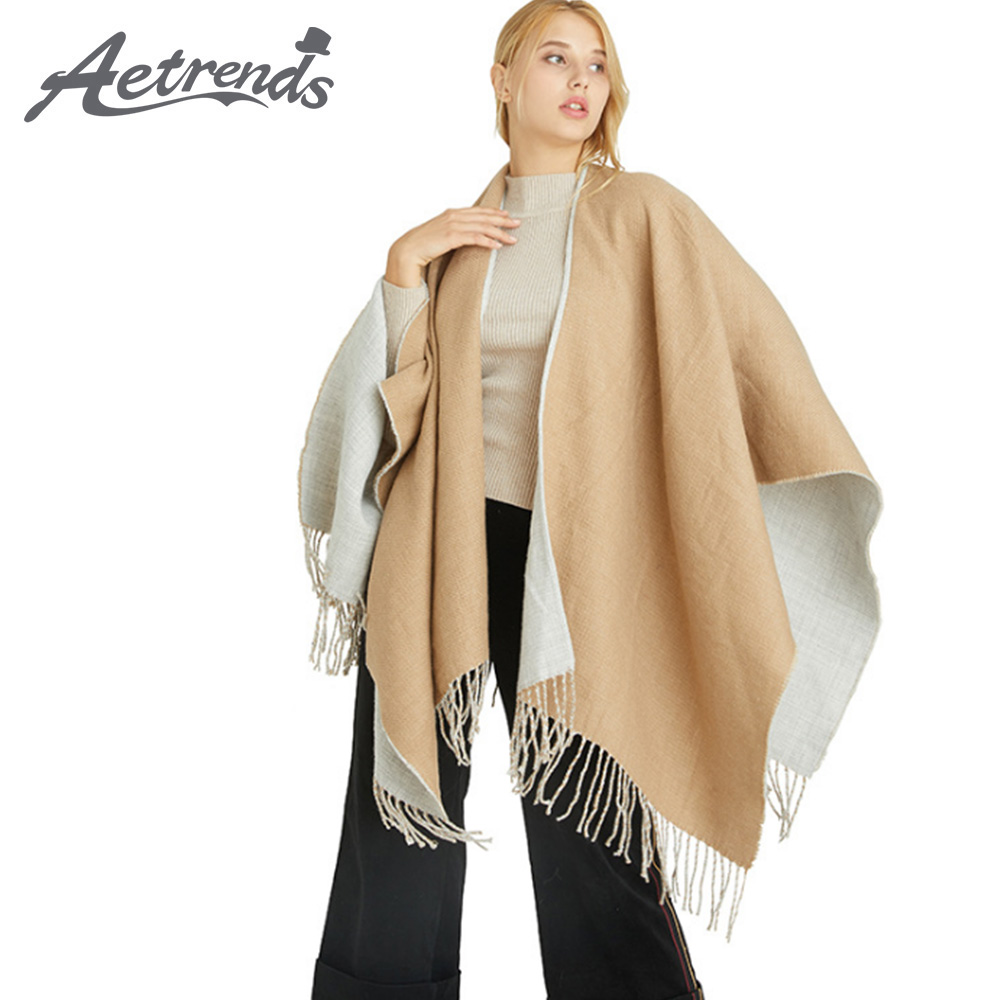[AETRENDS] Double Colors Sweater Poncho Cape Women's Open Front Blanket Shawl And Wrap K-0013