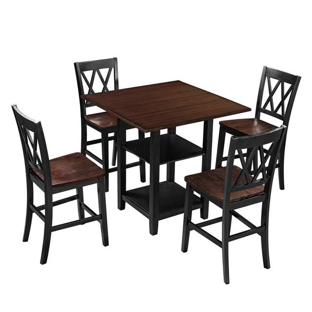 5 Piece Dining Set With Double Shelf And Matching Chairs For Family Use, Dining Room Furniture Set 6