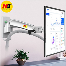 "NB F120 17 27"" Gas Spring Full Motion TV Wall Mount LCD Monitor Holder Aluminum Arm Bracket Silver Black"