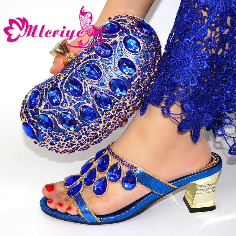 Style nigérian strass chaussures à talons hauts et sac ensemble chaussures Design italien avec sac assorti ensemble pour soirée