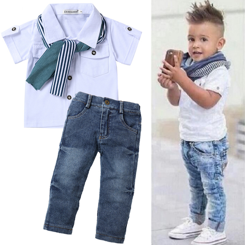2019 Autumn Children Clothing <font><b>Baby</b></font> Boys Clothes <font><b>Tshirt</b></font>+Jeans 2pcs Sports Suits For Boys Outfit Kids Clothes Tracksuit 2-7 Years image