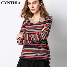 CYNTHIA 2020 Spring New Loose V-neck Striped WOMEN'S Thin Knitwear Sweater Long-sleeve Tops(China)