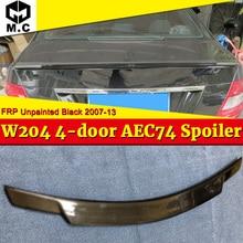цена на For Mercedes Benz W204 Tail Spoiler FRP Unpainted C74 Style 4-door C180 C200 C250 C63 Rear trunk wing rear spoiler Sedan 2007-13