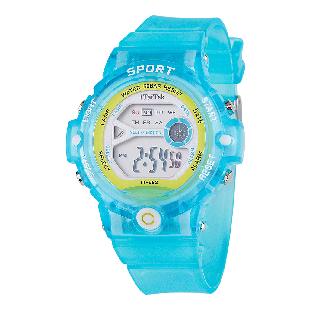 Children's watch LED Sport Watch Multi Function Waterproof Luminous Electronic Watch Alarm water proof rubber strap clock