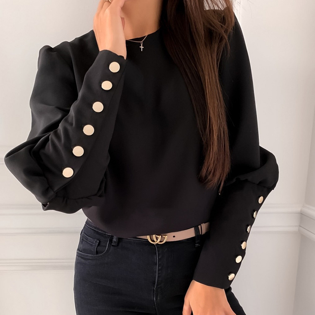 2021 Spring Autumn O Neck Ruffle Solid Shirts Elegant Office Lady Back Metal Buttons Blouses Casual Women Long Sleeve Chic Tops 2