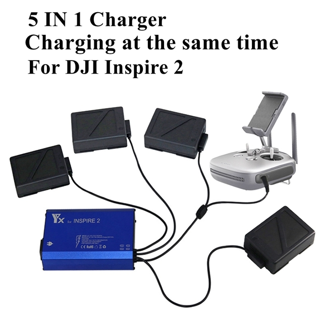 5 In 1 Intelligent Inspire 2 Drone Charger for Battery Remote Controller Smart Fast Charging Hub Spare Parts Charging Same Time