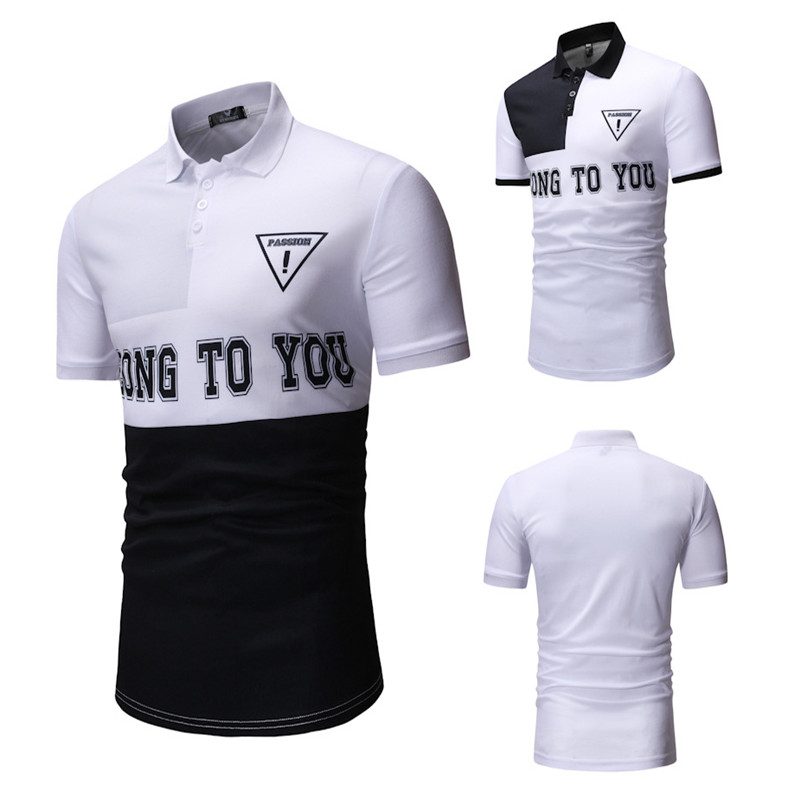 Men's   Polo   Shirts Blended Cotton Breathable Splicing Casual top Letter printing High quality Sports Short Sleeve   Polo   Shirts Men
