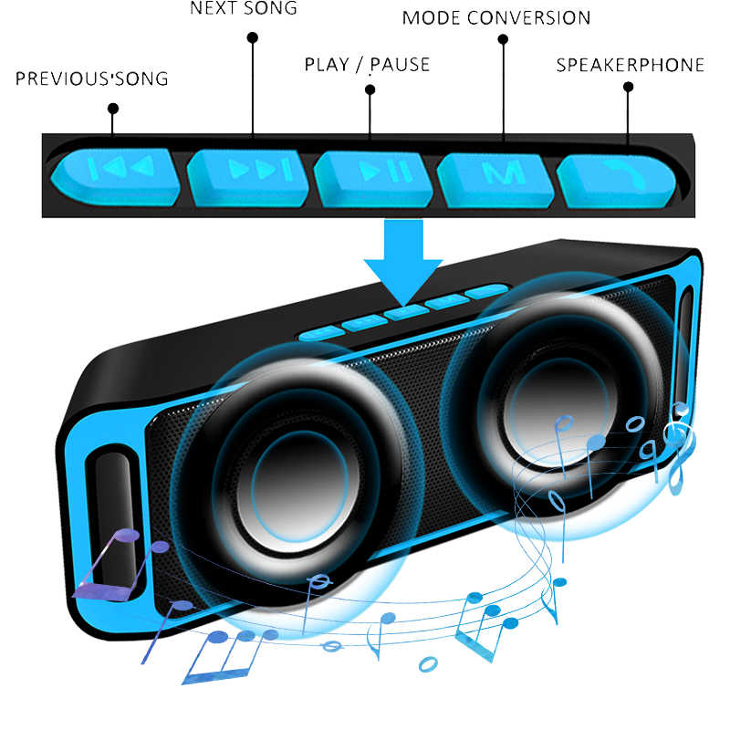 Ini Portabel Bluetooth Speaker Portable Nirkabel Loudspeaker Sound System 10W Stereo Musik Surround Tahan Air Luar Ruangan Speaker
