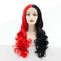 24inch Long Body Wavy Half Black Red Natural Soft Synthetic Lace Front Wig Heat Resistant Fiber Hair Cosplay Party Halloween Wig