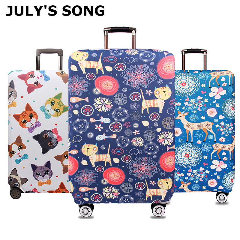 JULY'S SONG Chirstmas Deer Luggage Protective Covers For 18-32 Inch Trolley Luggage Case Elastic Dust Waterproof Suitcase Cover