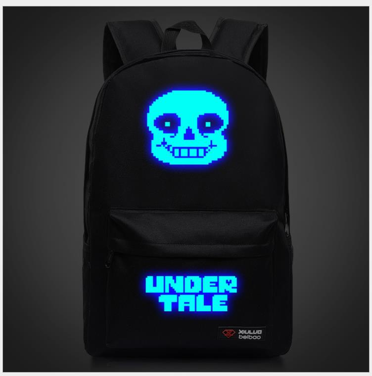 New Luminous Undertale Sans Skeleton Backpack Game Schoolbag Travel Students Bag Cospaly Gift Laptop Mochila