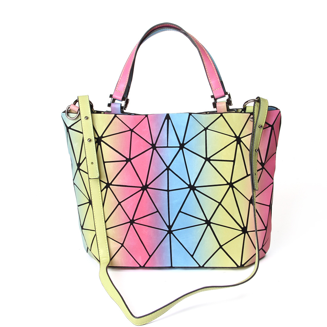 Ms3134 Fashion New Style Women's Hand Quilted Rainbow Folding Flexible Toth Shoulder Bag(China)