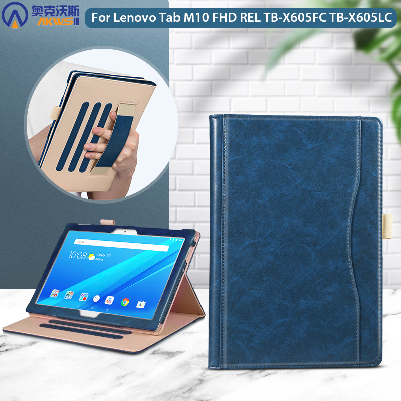 leather case for Lenovo Tab M10 FHD REL TB-X605FC TB-X605LC cover for Lenovo Tab 10.1 M10 FHD REL with pencil holder capa