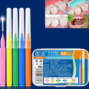 30PCS Push-Pull Interdental Brush 0.6mm Gum dental floss Orthodontic Wire Brush Toothbrush Oral Care Toothpick teeth brush