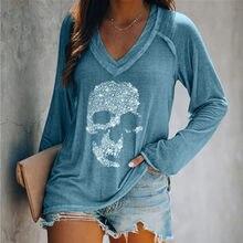 Размера плюс 4xl 5xl бриллиантами череп футболка женская верхняя одежда принтовые тройники, Женские топы для E для девочек; Платье с длинными р...