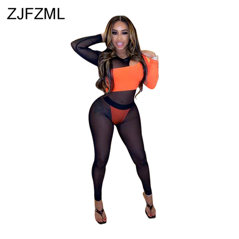 Contrast Color Sexy Transparent 2 Piece Set Women Long Sleeve Cut Out Skinny Bodysuit And High Waist Pencil Pants Club Outfits