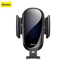 Baseus יוקרה זכוכית רכב טלפון מחזיק עבור iPhone X XS Max XR סמסונג S9 S8 הכבידה מתכת הכבידה אוויר Vent הר GPS ברכב מחזיק