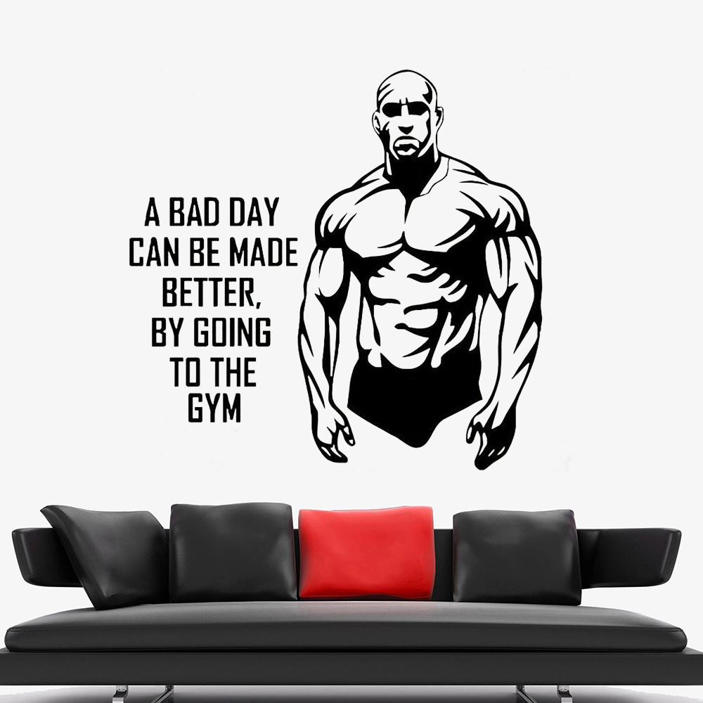 Wall Stickers Gym Fitness Muscle Strong Art Decals Vinyl Home Room Decor Shop