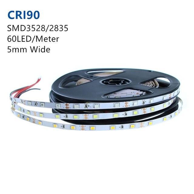 High CRI90 pcb blanc Super Slim DC12V SMD3528 | Lot de 60 s par mètre, sans étanchéité, 5mm de largeur 300lm par mètre, pcb