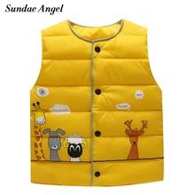 Sundae Angel/Детский жилет без рукавов с круглым вырезом для девочек, жилет для мальчиков пуховые парки, жилеты верхняя одежда для детей, пальто, куртка для детей возрастом от 1 года до 6 лет