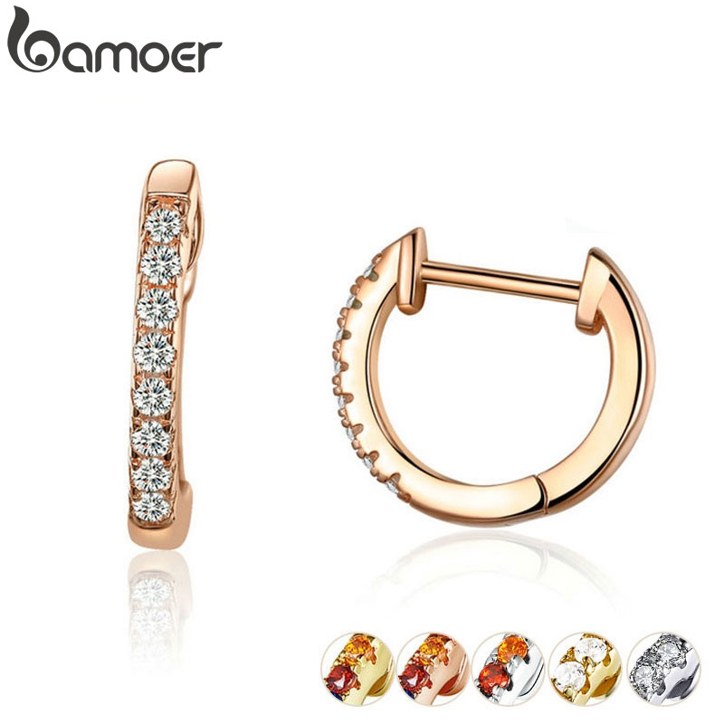 bamoer Authentic HOT SALE 6 Colors Circle Earrings for Women Silver 925 Gold Color Wedding Statement Jewelry Brincos SCE498