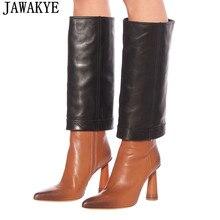 Высокие сапоги до колена из натуральной кожи в стиле пэчворк; женские высокие сапоги с острым носком на высоком каблуке; модные двухцветные сапоги; feminina