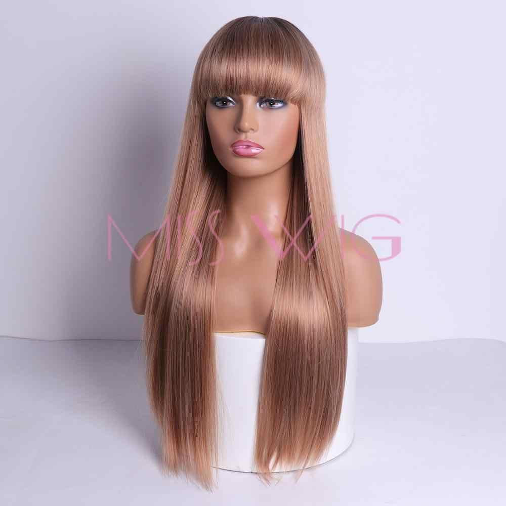 Miss Pruik Synthetisch Haar Lange Rechte 60 Cm 300G Zwart Blond Rood Hoofd Pruiken Voor Vrouwen Haar Extensions Hoge temperatuur Fiber