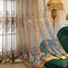 Estilo europeu e americano de luxo bordado tule azul café gradiente tule cortinas para sala estar quarto