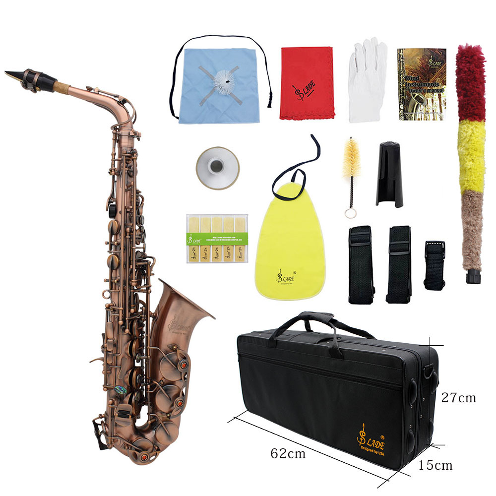 LADE Professionelle Rot Bronze Biegen Eb E-flache Alto Saxophon Sax Abalone Shell Key Schnitzen Muster mit Fall Handschuhe straps Pinsel