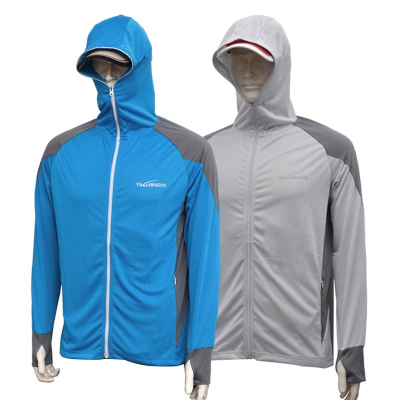 TSURINOYA Fishing Shirt Clothes Jacket Ice Silk Sports Clothing Professional Sun Protection Face Neck Anti-uv Breathable T Shirt