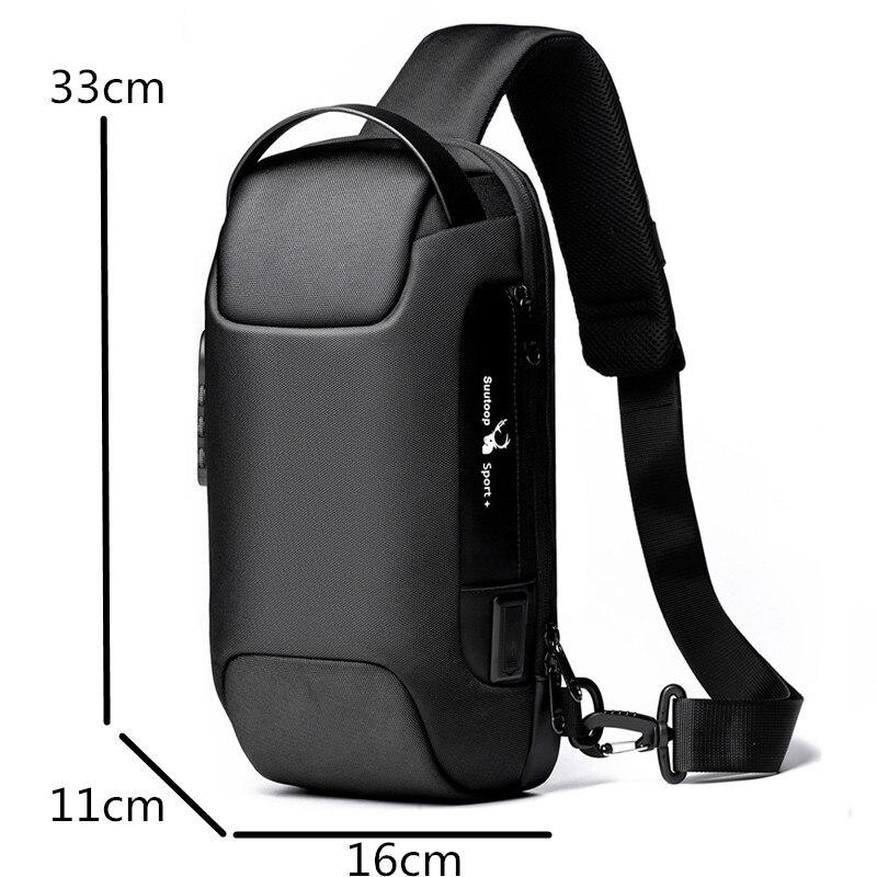 Multifunctional shoulder bag, for men, USB Anti-theft crossbody bag 2
