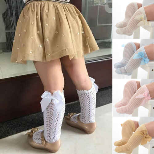 Baby Girls Knee High Socks Cotton Long Bow Stockings Ribbon Cute Kids 0-4 Years