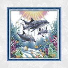 Joy Sunday Dolphin Paintings Counted Chinese Cross Stitch Print on Canvas DMC 14CT 11CT Needlework Accessories Embroidery Sets
