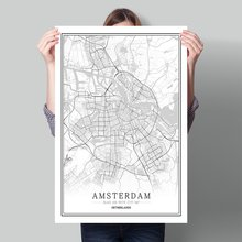 Netherlands Black White World City Map Poster Nordic Living Room Amsterdam Breda Wall Art Pictures Home Decor Canvas Painting amsterdam city map