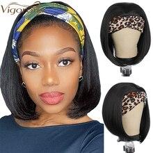 Энергичный синтетический короткий прямой парик с головной повязкой s черный боб парики для черных женщин 12 дюймов синтетический парик с гол...